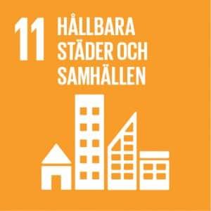 En text där det står Hållbara städer och samhällen och är nummer 11 av 17 st av FN:s globala mål.